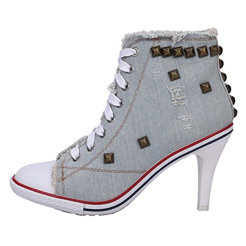 Fereshte Vrouwen Klinknagel Canvas Lace Up Hoge Hak Mode Sneakers Enkellaarzen Lichtblauw