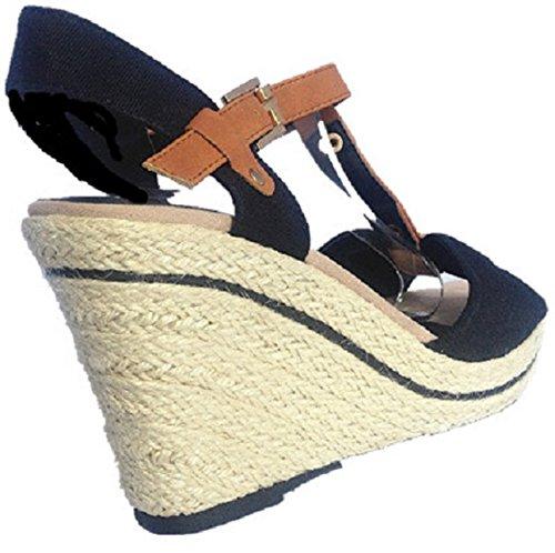 Mujeres Sandalias de cuña con zapatos de tacón y punta abierta para mujer modelo 157-61, color negro
