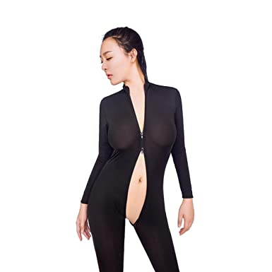 c447ec6b7b Ronamick Women s Sexy Front Zipper Open Exposed Hips Jumpsuit Pants Suit Sexy  Lingerie Spandex Bodysuit Clubwear