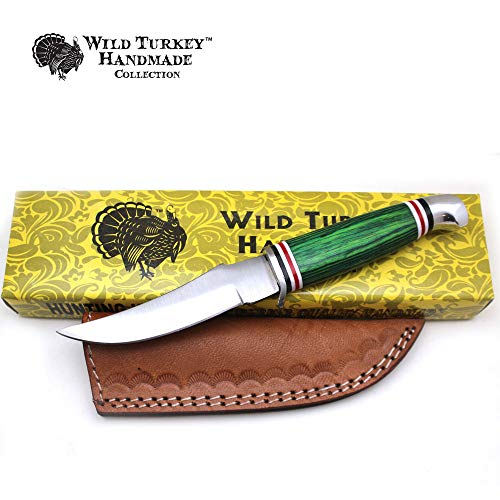 Wild Turkey Handmade Collection Color Wood Handle Fixed Blade Skinner Knife w/Leather Sheath (Green)
