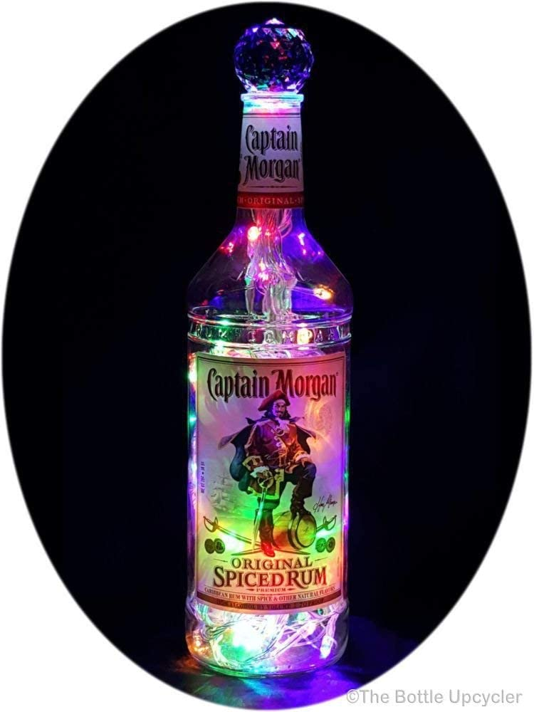Upcycled Captain Morgan Mood Therapy Liquor Bottle Light w/100 Bright Multi-Color LED's Topped Off with an Asfour 30% Leaded Clear Crystal Prism Ball