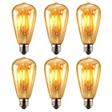 Pack of 6 LED Edison Bulb, KEEDA 6W ST64 Vintage Antique Dimmable Bulb Lighting Warm White 2700K, Clear Class