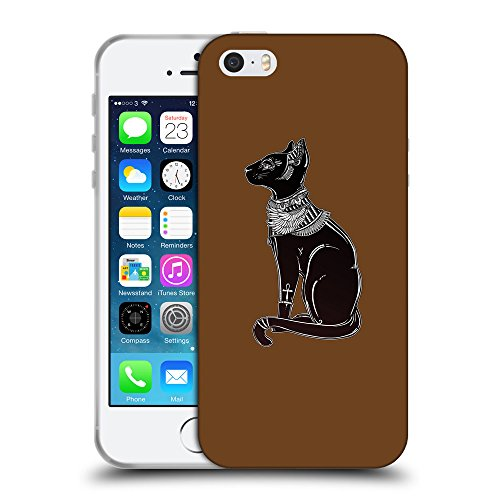 GoGoMobile Coque de Protection TPU Silicone Case pour // Q08090633 Goddess Bastet 1 Sépia // Apple iPhone 5 5S 5G SE