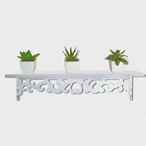 White Floating Wall Shelf 24 Inch Great for Books or Collections Utility Shelf Add Design and Taste to Your Room Easy Assembly