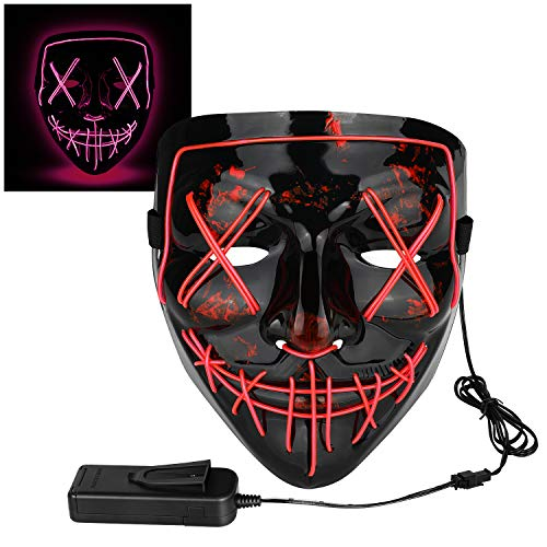 Scary Child Neon Costumes - Poptrend Halloween Mask LED Light up