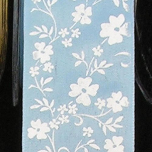 Light Blue with White Small Flower Print Taffeta Wired Craft Ribbon 1.5