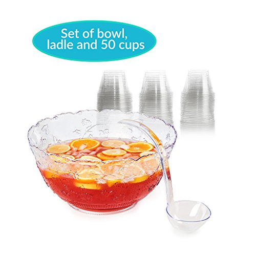 Punch Bowl And Ladle - Set of Plastic Punch Bowl, Ladle, and Cups - Large 2 gallon Bowl 5 oz Punch Ladle and 9 oz Disposable Clear party punch Cups by Upper Midland Products