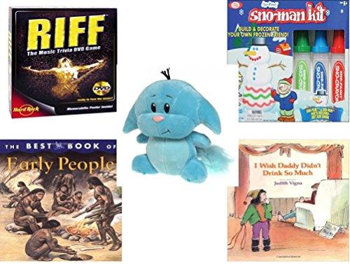 Children's Gift Bundle - Ages 6-12 [5 Piece] - Riff DVD Game - Sno Paint Snowman Kit Toy - Neopets Blue Kacheek Plush 6