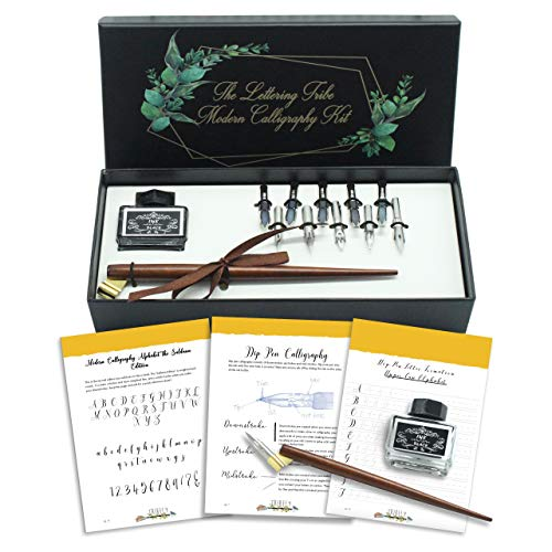 Lettering Tribe Calligraphy Set For Beginners | Oblique Wooden Pen Set | 10 Caligraphy Dip Pen Nibs | Black India Ink | Online Caligraphy kits for beginners Book