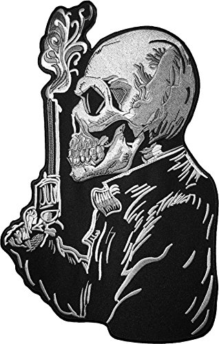 Smoking Hot Firefighter Costume ([Large Size] Papapatch Skull Smoking Revolver Gun Ghost Zombie Death Biker Rider Motorcycle Jacket Vest Costume Embroidered Sewing Iron on Patch (IRON-SKULL-SMOKING-GUNS-LARGE))