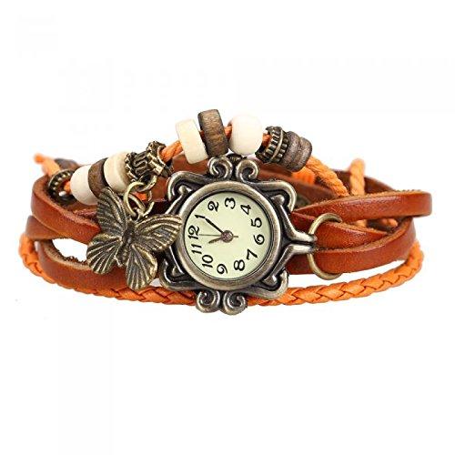 Antique Leather Bracelet Watch Vintage Women Wrist Watch Butterfly Pendant Synthetic Leather Strap dress Watch Relogio - Repair Oakley Parts