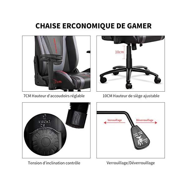 mfavour Chaise Gaming en Cuir Chaise de Bureau Pivotante Fauteuil Ergonomique pour Grande Taille, Hauteur de Siège…