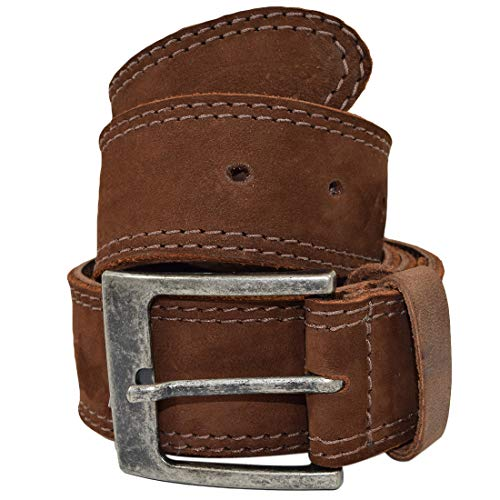 - Men's Two Row Stitch Leather Belt Handmade by Hide & Drink :: Swayze Suede (Size 40)