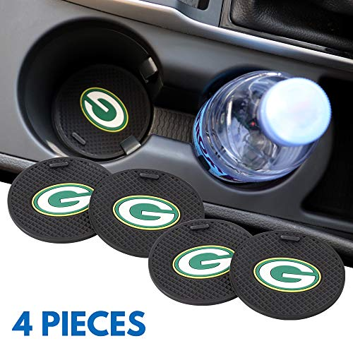 Ysiueng 4 Pack Anti Slip Cup Mat 2.75 inch for Green Bay Packers Car Interior Accessories Silicone Car Coaster for All Vehicles