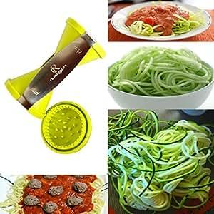 RC Zucchini and Carrot Veggie Pasta Spaghetti Maker Vegetable Spiralizer Spiral Slicer Cutter for Carrots/ Zucchini/ Cucumber/ Radish/ Turnips/ Sweet Potatoes (Green)