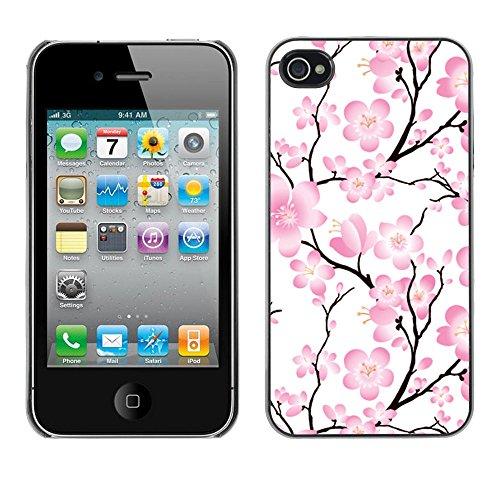 TaiTech / Case Cover Housse Coque étui - Wallpaper Pink Flowers Floral Tree Branch - Apple iPhone 4 / 4S