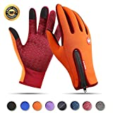 Achiou Touchscreen Gloves for Winter Warm iPhone iPad Bicycling Cycling Driving Anti-Slip Gloves Running Climbing Skiing Outdoor Sports for Men Women(Orange,L)