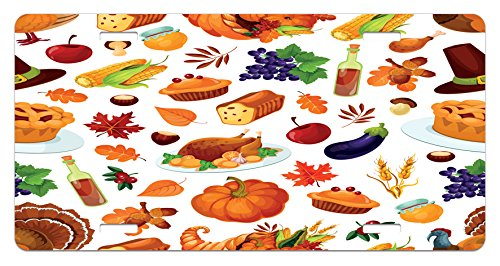 - Lunarable Thanksgiving License Plate, Food Abundance Autumn Harvest Sweet Traditional Celebration Dinner Pattern, High Gloss Aluminum Novelty Plate, 5.88 L X 11.88 W Inches, Multicolor