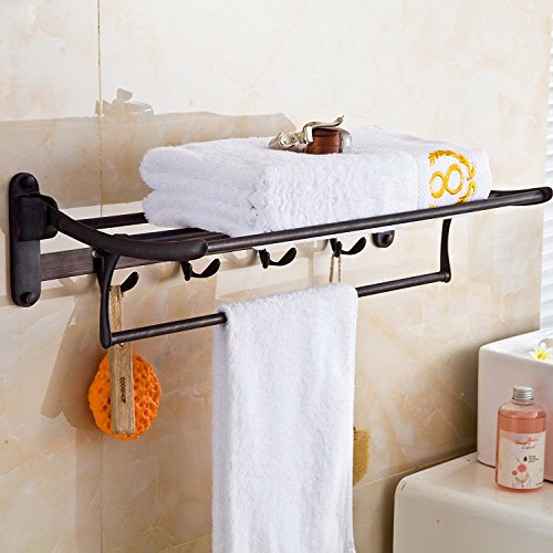 Bronze Shelf Bathroom (ELLO&ALLO Oil Rubbed Bronze Towel Racks for Bathroom Shelf with Foldable Towel Bar Holder and Hooks Wall Mounted Multifunctional Racks)