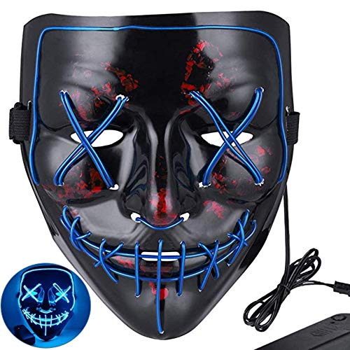 Rave Mask Halloween Mask LED Face Mask Light Up for Festival Cosplay Halloween Costume Party Blue]()