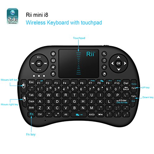 Rii® mini i8+ 2.4GHz Wireless KODI ,XBMC Keyboard with Touchpad Mouse, Chargeable Li-ion Battery, Silicone button ,Raspberry Pi 2, MacOS,HTPC, IPTV, Google Android TV Box ,Windows 7/8/10 (without backlit) (Rii mini i8+ without backlit)