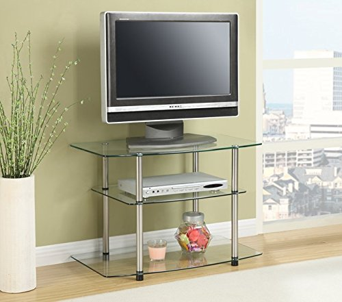 31.5'' TV Stand Three Fixed Tempered Glass Shelves Perfect For Your TV, DVD Player and More Moisture-resistant Materials Won't Rust or Warp