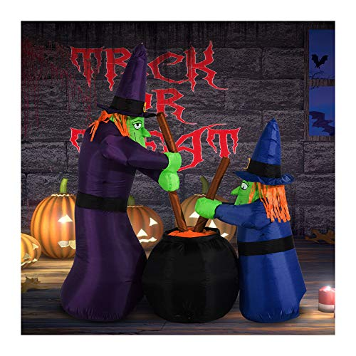 Yal Boutique 6FT Halloween Inflatable Airblown Bubble Witches Light Yard Outdoor -
