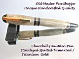 Handmade Stabilized Spalted Tamarind Churchill Fountain Pen With Titanium Gold Plating