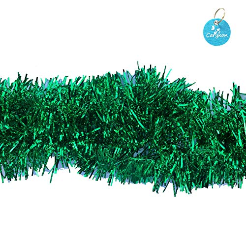 Carykon Elegant Hanging Sparkly Tinsel Garland, 5 Pcs, Each 3 Inch W x 6 Feet L, Holiday Decoration (Green)