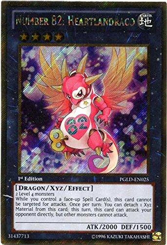 Yu-Gi-Oh! - Number 82: Heartlandraco (PGLD-EN025) - Premium Gold - 1st Edition - Gold Secret Rare