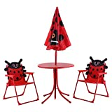 BESTChoiceForYou Kids Patio Folding Table and Chairs Set Beetle with Umbrella Activity Desk Study Character