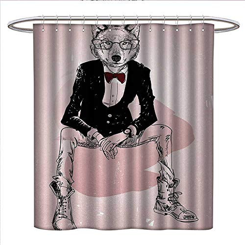 Anniutwo Indie Shower Curtains Fabric Hipster Portrait of