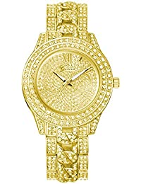 Unisex Iced-out Studded Alloy Geneva Watch Luxury Shiny Watches for Men and Women (Gold)