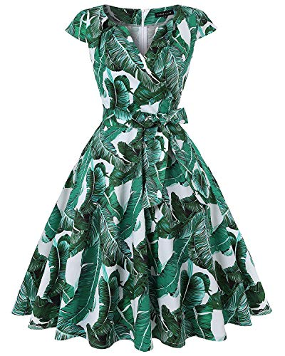 - MINTLIMIT Women A-Line Vintage Palm Leaf Print Bodycon Cap Sleeve Retro Dress Sundress(Floral Green,Size L)