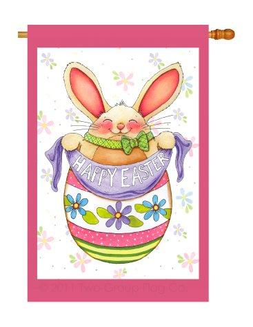 Breeze Decor - Egg Bunny Spring - Seasonal Impressions Decorative Vertical House Flag 28