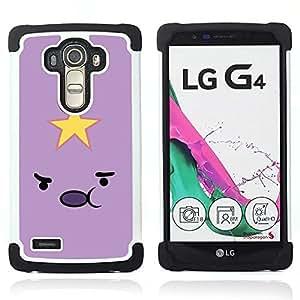 Jordan Colourful Shop - Star Emoticon Pink Yellow Face Cartoon For LG G4 H815 H810 F500L - < Llevar protecci????n de goma del cuero cromado mate PC spigen > -