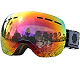 Ski Snow Goggles Junior- Frameless, exchangeable Double Spherical Lens with Anti Scratch and Anti Fog, Snowboard Glasses For Kids Boys Girls