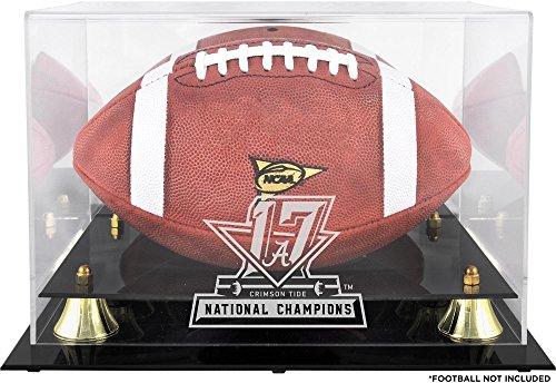 Sports Memorabilia Alabama Crimson Tide College Football Playoff 2017 National Champions Logo Golden Classic Football Display Case