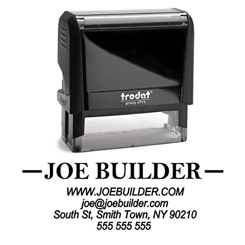 Business Self Inking Stamp Black - Return Address Office Stamper - Custom Personalized Company Address - Large 4 Lines - Professional Company Branding Large Business Address Stamp