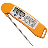 Best Cooking Barbecue Meat Thermometer Ultra Fast Instant Read Digital Electronic BBQ Thermometer With Collapsible Internal Probe. (Orange)