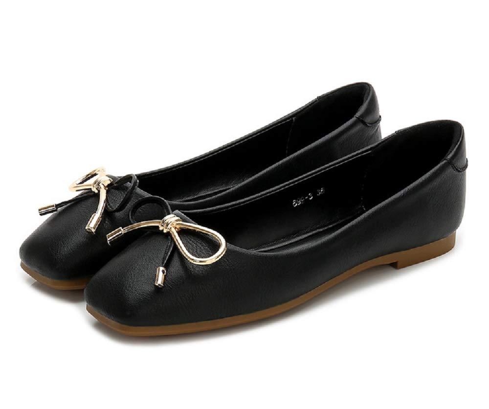 Qiusa EU Knot Large : Ballerines Grandes Chaussures 38) Femme Square Toe Soft (coloré : Noir, Taille : EU 38) Noir 6fdc226 - latesttechnology.space