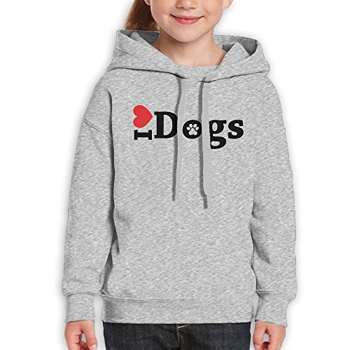 Rongyingst Love Dogs Unisex Youth Hoodie Cotton Pullover Drawstring Hooded Sweatshirt For Boys Girls Ash - Prescott Portland The