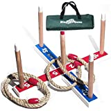 Elite Ring Toss Game - Children's or Family Outdoor Quoits Game - Compact Carry Bag Included