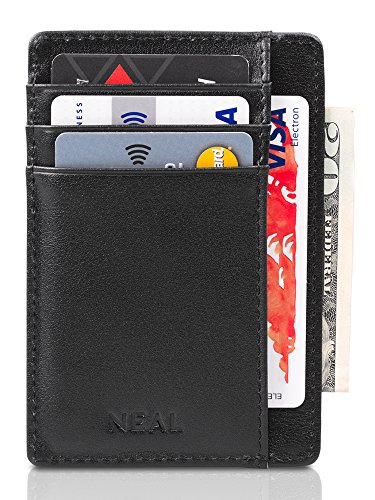 NEAL Front Pocket Wallet with RFID Protection + Money Clip and Gift Box - Top Grain Quality Leather Slim Credit Card Holder, Designed for Up to 10 Cards