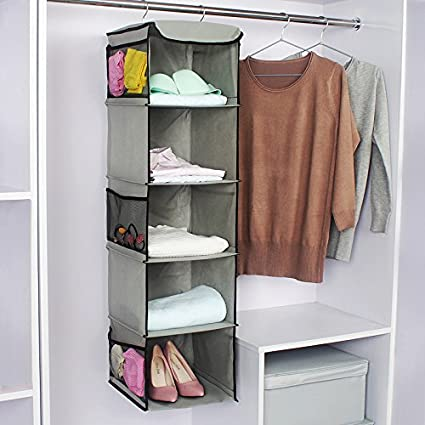 S Hanging Closet Organizer   6 Side Mesh Pockets Breathable Polypropylene  Hanging Shelves Grey