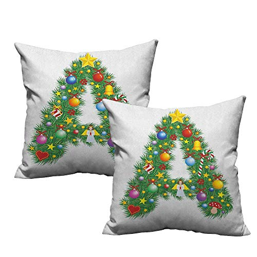 (RuppertTextile Couple Pillowcase Letter A Tree Star from Winter Celebrations Praying Angel Mini Stars Letter A Font Concept Cushion W18 xL18 2 pcs)