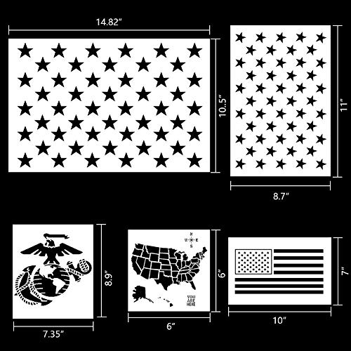 Koogel 9pcs Plastic Stencil Template, American Flag 50 Star U.S(Map Flag Marine Corps Army Air Force) for Planner/Notebook/Diary/Scrapbook/Graffiti/Card, DIY Drawing Painting Craft Projects