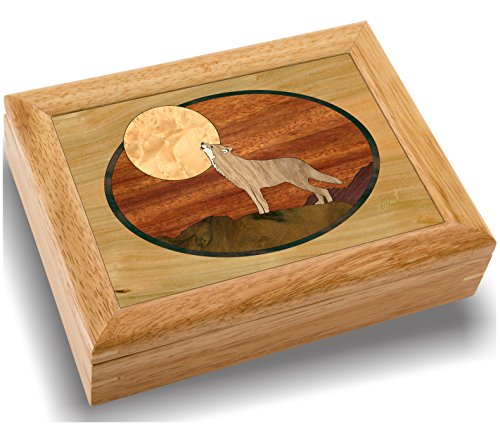 (Wood Art Wolf Box - Handmade in USA - Unmatched Quality - Unique, No Two are The Same - Original Work of Wood Art. A Wolf Gift, Ring, Trinket or Wood Jewelry Box (#2117 Howling at The Moon 6x8x2))