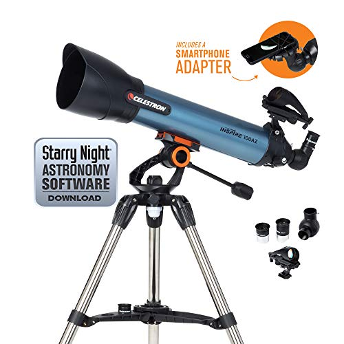 Celestron Inspire 100AZ Refractor Smartphone Adapter Built-in Refracting Telescope, Blue (22403)