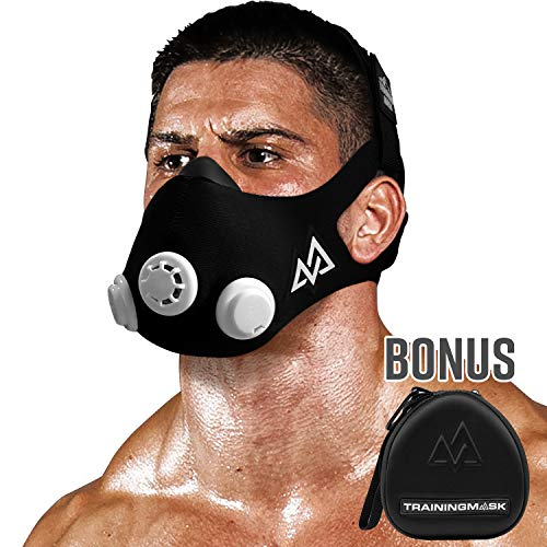 Training Mask 2.0 Workout Fitness Mask for Running and Breathing Resistance Training, Elevation Mask, Cardio Mask, Endurance Mask for Fitness (Black + Case, Medium)